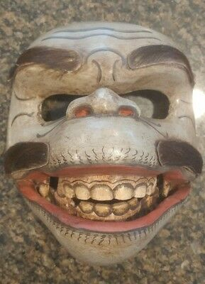 Bali Indonesian Monkey Wood Mask Hand Carved And Painted
