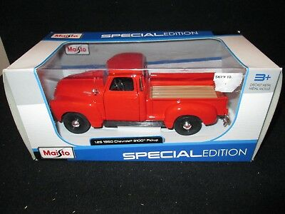 Maisto 1950 Chevrolet 3100 Pick Up Red Special Edition Die-Cast 1:25 Scale