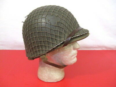 Early WWII US M1 Helmet Steel Pot Fixed Bale Front Seam w/Hawley Fiber Liner #1