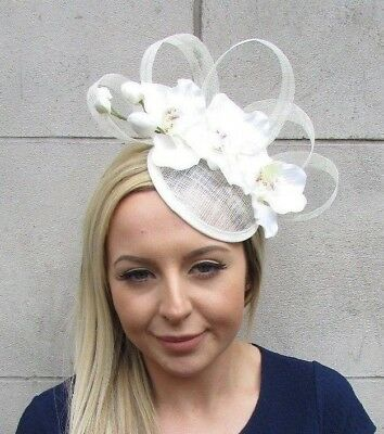 Cream Ivory Sinamay Orchid Flower Pillbox Hat Fascinator Races Headpiece 5519