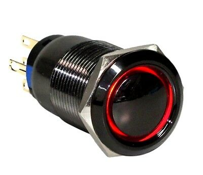 19mm Black Stainless Momentary Dome Push Button RED LED Angel Eye Halo Switch US
