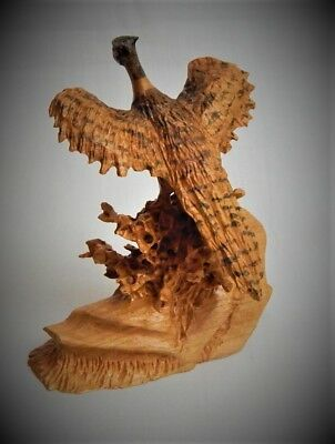 Miniature Pheasant Cherry Wood Carving Sculpture By Joan Kosel