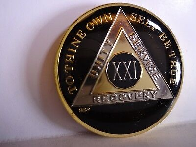 AA BSP Black Gold 21 Year Coin Tri-Plate Alcoholics Anonymous Medallion TopGrade