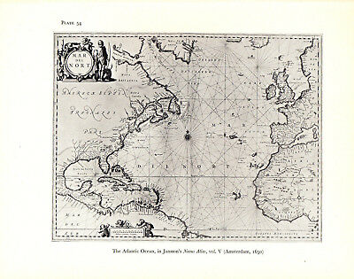 1965 VINTAGE MAP #54 ATLANTIC OCEAN JANSSON (shown in 1650) Art Print Lithograph