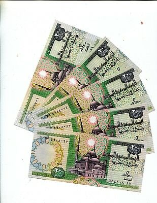 Egypt 20 Pounds Lot Of 5 Unc Notes 3.95