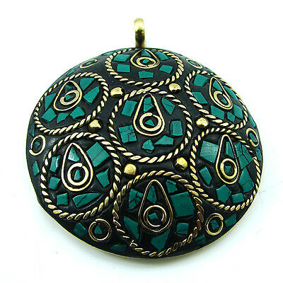 Solid Brass Turquoise Gemstone Antique Ethnic Vintage Nepali Pendant 285