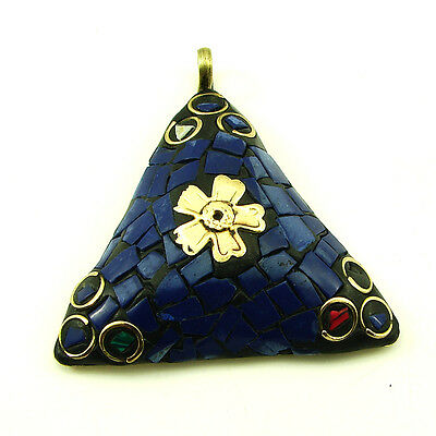 Solid Brass Blue Lapis Lazuli Gemstone Antique Ethnic Vintage Nepali Pendant 278