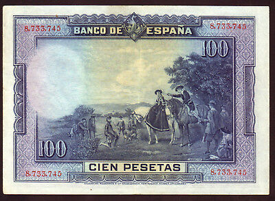 1925 100 Pesetas Spain  Vintage Paper Money Banknote Currency Rare Antique Old