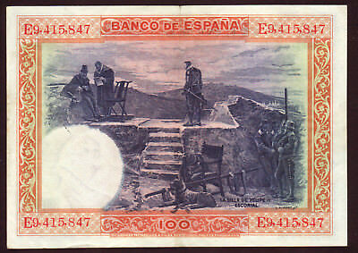 1928 100 Pesetas Spain VF Vintage Paper Money Banknote Currency Rare Antique Old