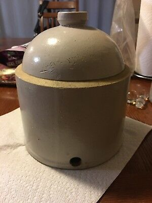 Antique Primitive Stoneware Pottery Jug Chicken Feeder Waterer