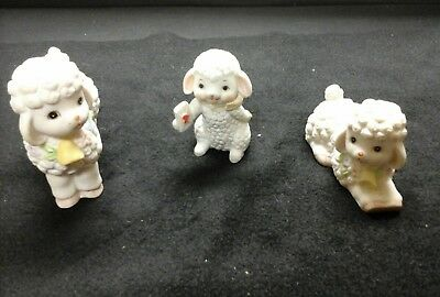 Lefton Set Of 3 Lambs Porcelian Figurines 2 With Original Stickers