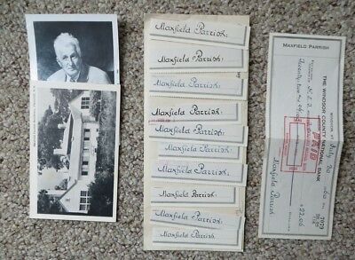 Lot of 10 Original Maxfield Parrish Clipped Signatures + Signed Check + more