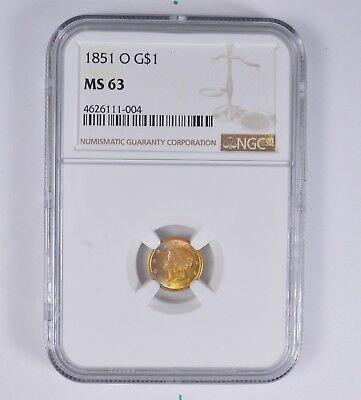 MS63 1851-O Liberty Head Gold Dollar - NGC Rainbow Toned *6426