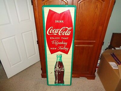 """VTG 1950's-60's Metal Coca Cola Sign Advertising Made in U.S.A. 53.5"""" x 17.5"""""""