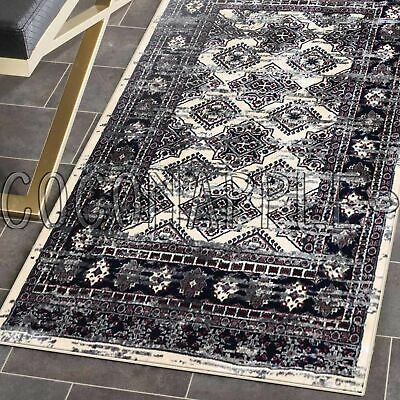 Deja Boho Cream Grey Distressed Oriental Floor Rug Runner 80x300cm *FREE DELIVER