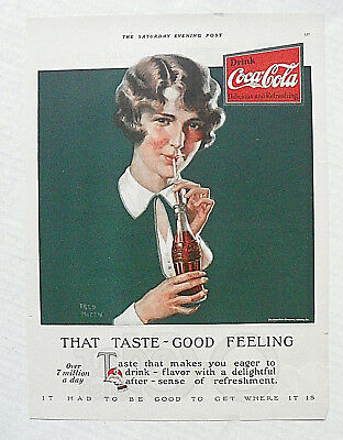 "1927,apr.9 Sat. Evening Post ""that Taste ~ Good Feeling"" 1927 Tray Girl W/ Coke"