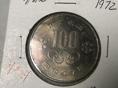 1972 Japan 100 Yen Olympic world foreign coin Excellent condition