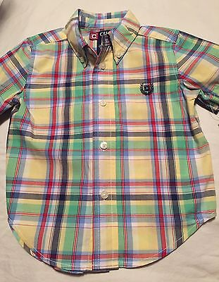 Chaps Ralph Lauren Boys Short Sleeve Button Up Shirt Size 18 Months Nwt