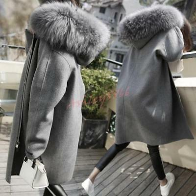 Women Wool Blend Coat Faux Fur Collar Hooded Jacket Zipper Thicken Overcoat Hot