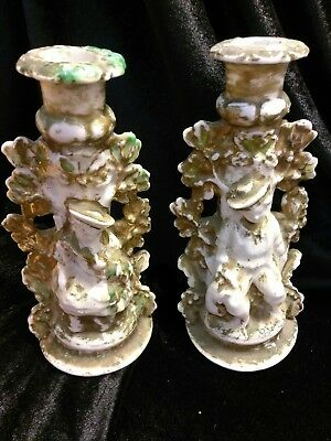 Porcelain gold trim candle holders. Antique Victorian candle holders.