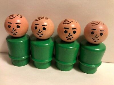 Vintage Fisher Price Original Little People Father Man Green All Wood You Choose