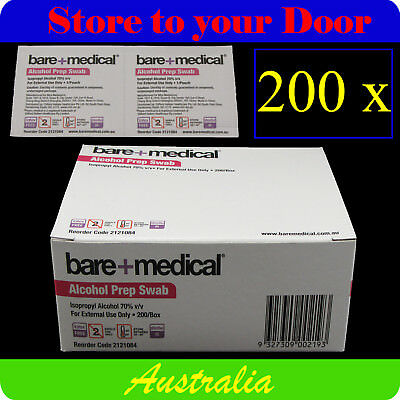 200 x Bare Medical Alcohol Wipes / Isopropyl Swabs - Sterile Screen Cleaners