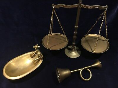 Lot Of 3 Vintage Brass Items. Scale. French Horn Bell. Bathtub Soap Dish.