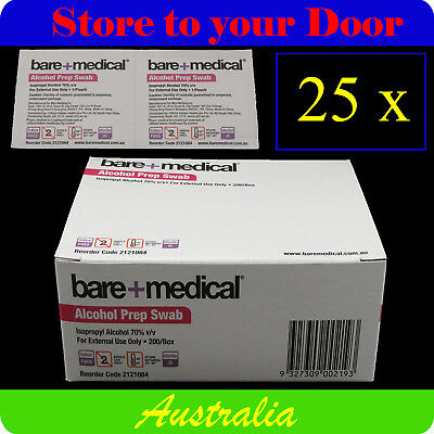 25 x Bare Medical Alcohol Wipes / Isopropyl Swabs - Sterile Screen Cleaners