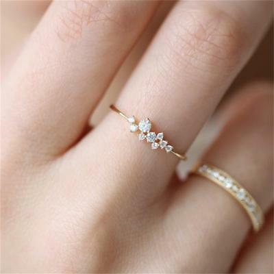Women Girl 925 Ring Engagement Silver Crystal 14k Solid Gold Simple Fashion Gift