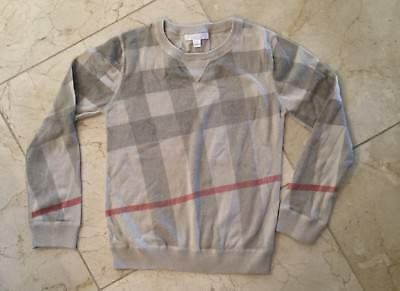 Burberry Children Boy's Cream Gray Cashmere Cotton Sweater 10Y