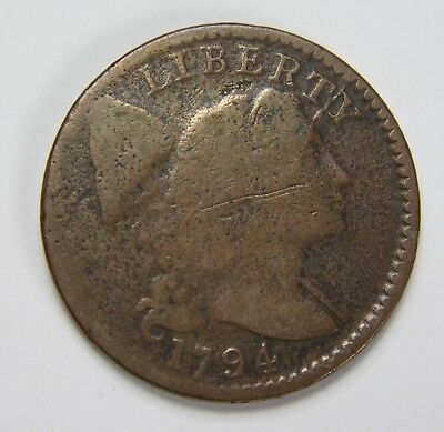 1794 Liberty Cap Large Cent Flowing Hair Lettered Edge Penny US Coin NR P1R B071