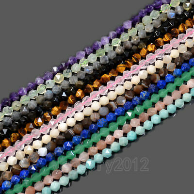 Natural Gemstones 24 Faceted Polygons Spacer Beads 7.5'' Strand 6mm 8mm 10mm