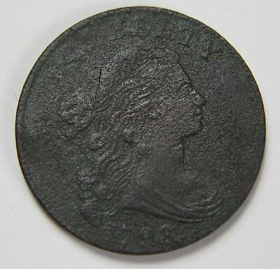 1798 Draped Bust Large Cent Style 2 Hair Penny Old US Coin NR Free Ship P1R B075