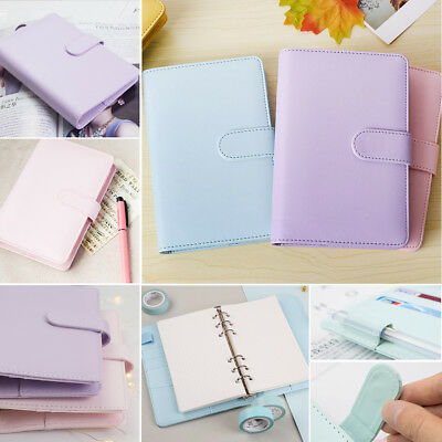 A5 Leather Loose-Leaf Ring-Binder-Notebook Macaron Colour Agenda Planner Diary