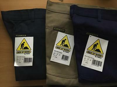 MEN AT WORK By YAKKA Drill Pants mens various sizes Green Navy FREE POSTAGE