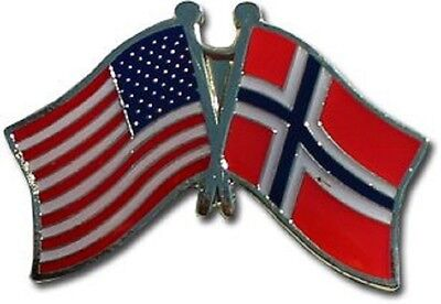 Usa   Norway Friendship Crossed Flags Lapel Pin   New   Country Pin