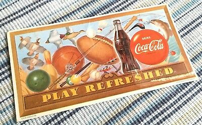 "Vintage COCA-COLA COKE POSTCARD Card ADVERTISEMENT ""Play Refreshed"" Sports"