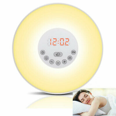 Delightful 7 Colors Sunrise Alarm Clock Wake Up Light LED FM Radio Bedside Night Lamp