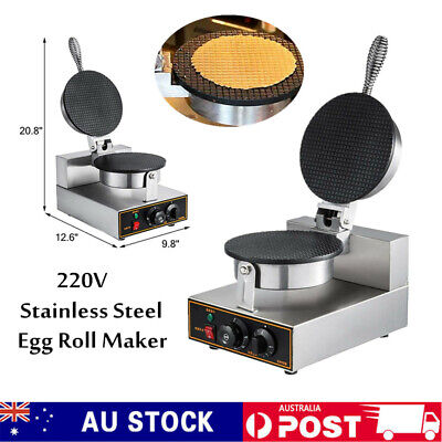 Nonstick Electric IceCream Waffle Cone Egg Roll Maker Making Machine 1200W 220V
