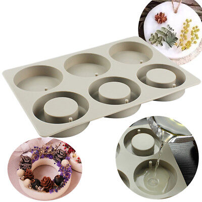 6-Cavity Silicone Mold Handmade Soap Mould DIY Cake Muffin Baking Mold