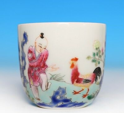 Marvelous Old Chinese Antique Hand Painting Porcelain Cup Marked QianLong FA519