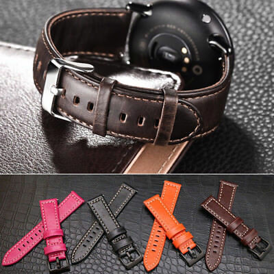 Quick Release Leather Watch Band Wrist Strap For Pebble Time Round Ticwatch 2