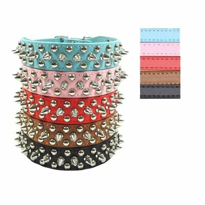 US Pet Dog Puppy Cat Rivet Spiked Studded Neck Strap PU Leather Buckle Collar