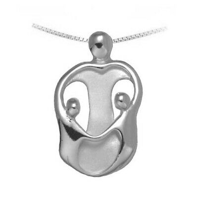 Small Mother and 3 Children Necklace Loving Family Silver Mother/'s Jewelry