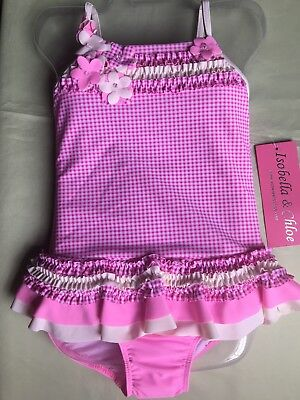 Isobella And Chloe Girls Pink Gingham Check 1 Piece Ruffle Swimsuit Size 3T-New