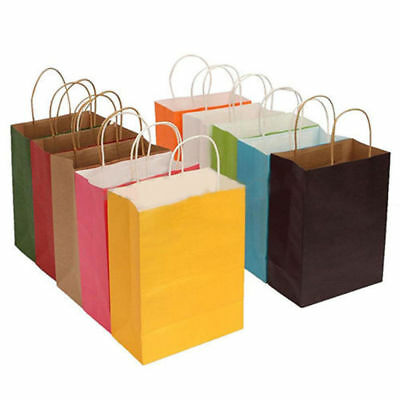 10Colors Party Bags Kraft Paper Gift Bag With Handle Recyclable Shop Loot Bag #r