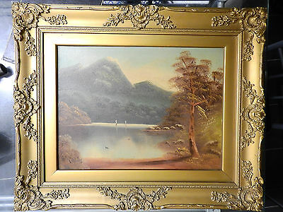 W. Collins, wooden gilt-framed vintage oil painting on board - mountainous scene