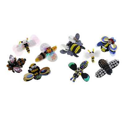 9pcs/Set Vintage Rhinestone Dragonfly Bee Insect Beaded Applique Patches DIY