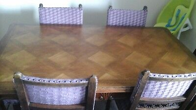 Antique   inlaid extending  dining  table and  6 chairs
