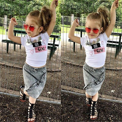 USA 2PCS Toddler Kids Baby Girls Tops T-shirt Short Skirts Dress Outfits Clothes
